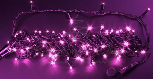 Светодиодная гирлянда Rich LED Нить 10 м, 24В, постоянного свечения, соединяемая, черный провод, Розовая