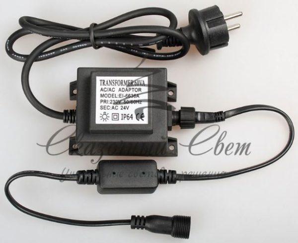 Трансформатор 220/24 В , усиленная влагозащита IP65, герметичный, 30 Вт, шнур подключения с выпрямителем тока 1.5 м., черный
