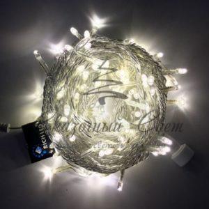 Светодиодная гирлянда Rich LED Нить 10 м, 24В, постоянного свечения, соединяемая, прозрачный провод, Тепло-белая