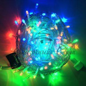 Светодиодная гирлянда Rich LED Нить 10 м, 24В, постоянного свечения, соединяемая, прозрачный провод, Мульти