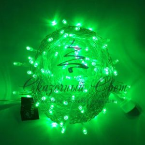 Светодиодная гирлянда Rich LED Нить 10 м, 24В, постоянного свечения, соединяемая, прозрачный провод, Зеленая