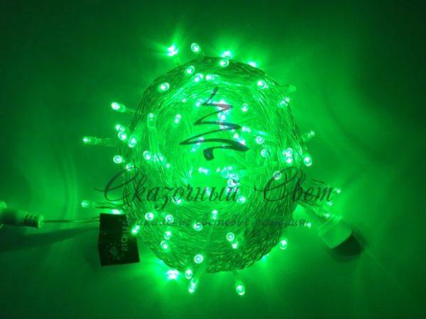 Светодиодная гирлянда Rich LED Нить 10 м, 24В, постоянного свечения, соединяемая, прозрачный провод, Зеленая 3
