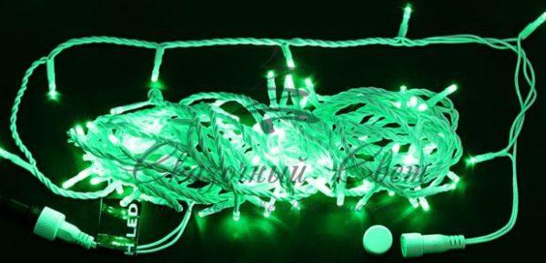Светодиодная гирлянда Rich LED Нить 10 м, 24В, постоянного свечения, белый провод, Зеленая