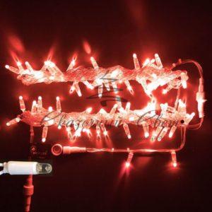 Светодиодная гирлянда Rich LED Нить 10 м, 24В, герметичный колпачок, IP65, постоянного свечения, соединяемая, белый провод, Красная