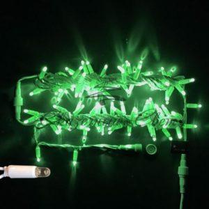 Светодиодная гирлянда Rich LED Нить 10 м, 24В, герметичный колпачок, IP65, постоянного свечения, соединяемая, белый провод, Зеленая
