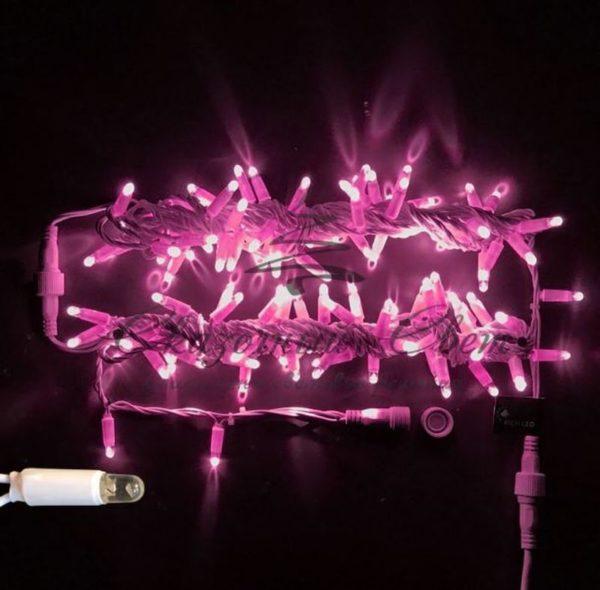 Светодиодная гирлянда Rich LED Нить 10 м, 24В, герметичный колпачок, IP65, постоянного свечения, соединяемая, белый провод, Розовая