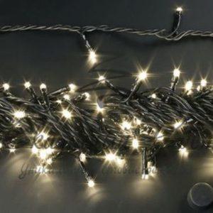 Светодиодная гирлянда Rich LED Нить 10 м, 24В, мерцающая, соединяемая, черный провод, Тепло-белая