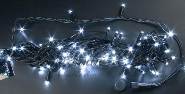 Светодиодная гирлянда Rich LED Нить 10 м, 24В, мерцающая, соединяемая, черный провод, Белая