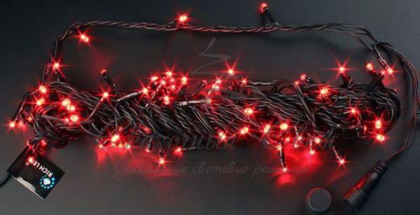 Светодиодная гирлянда Rich LED Нить 10 м, 24В, мерцающая, соединяемая, черный провод, Красная