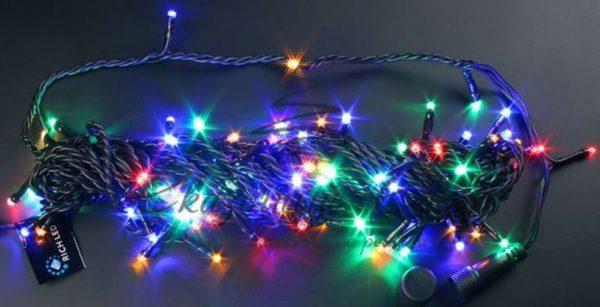 Светодиодная гирлянда Rich LED Нить 10 м, 24В, мерцающая, соединяемая, черный провод, Мульти