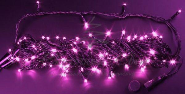 Светодиодная гирлянда Rich LED Нить 10 м, 24В, мерцающая, соединяемая, черный провод, Розовая