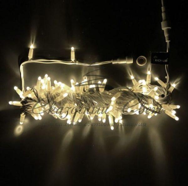 Светодиодная гирлянда Rich LED Нить 10 м, 24В, мерцающая, соединяемая, прозрачный провод, Тепло-белая