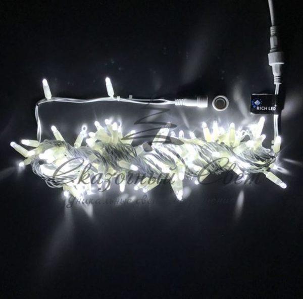 Светодиодная гирлянда Rich LED Нить 10 м, 24В, мерцающая, соединяемая, прозрачный провод, белая