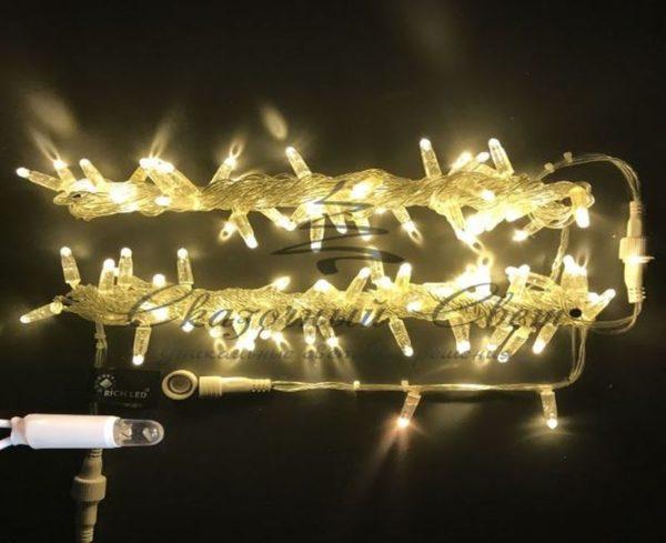 Светодиодная гирлянда Rich LED Нить 10 м, 24В, мерцающая, IP65, герметичный колпачок, соединяемая, белый провод, Тепло-белая