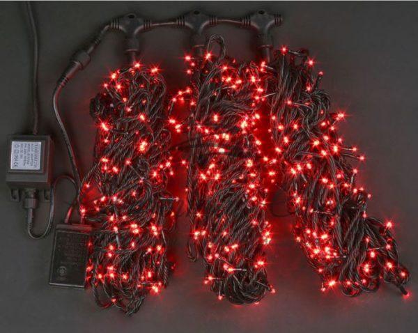 Светодиодная гирлянда Rich LED 3 Нити по 20 м c контроллером, Красная, черный провод