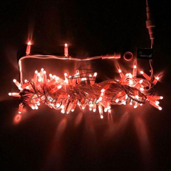Светодиодная гирлянда Rich LED Нить 10 м, 24В, мерцающая, IP65, герметичный колпачок, соединяемая, белый провод, Красная
