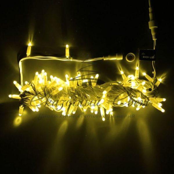 Светодиодная гирлянда Rich LED Нить 10 м, 24В, мерцающая, IP65, герметичный колпачок, соединяемая, белый провод, Желтая