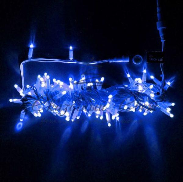 Светодиодная гирлянда Rich LED Нить 10 м, 24В, мерцающая, IP65, герметичный колпачок, соединяемая, белый провод, Синяя