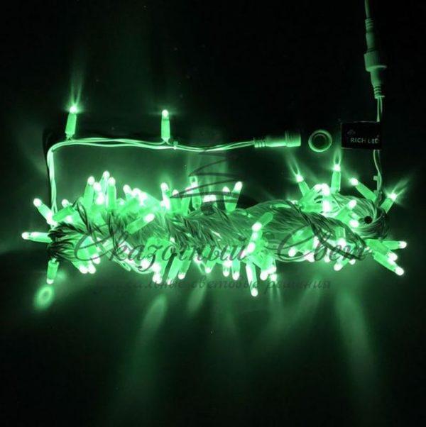 Светодиодная гирлянда Rich LED Нить 10 м, 24В, мерцающая, IP65, герметичный колпачок, соединяемая, белый провод, Зеленая