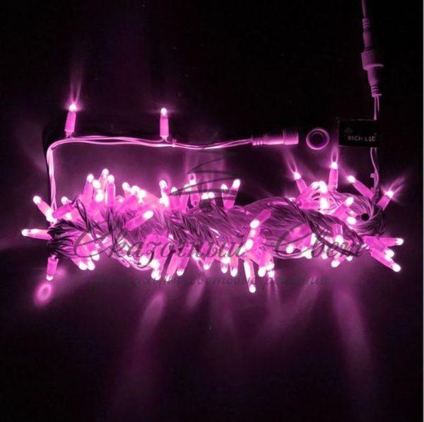 Светодиодная гирлянда Rich LED Нить 10 м, 24В, мерцающая, IP65, герметичный колпачок, соединяемая, белый провод, Розовая