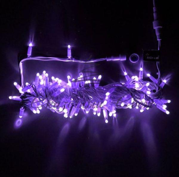 Светодиодная гирлянда Rich LED Нить 10 м, 24В, мерцающая, IP65, герметичный колпачок, соединяемая, белый провод, Фиолетовая