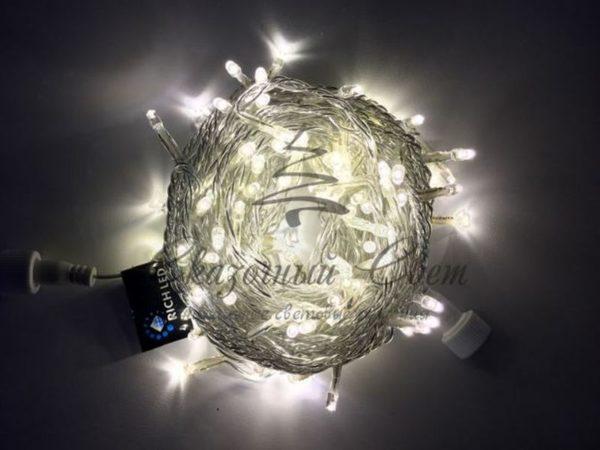 Светодиодная гирлянда Rich LED Нить 10 м, 220В, постоянного свечения, соединяемая, прозрачный провод, Тепло-белая 3