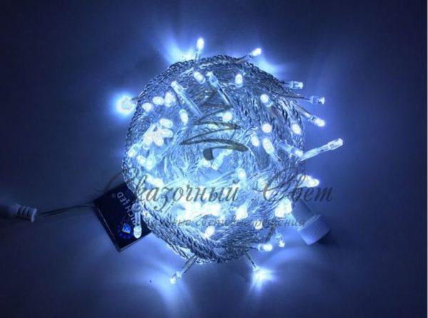 Светодиодная гирлянда Rich LED Нить 10 м, 220В, постоянного свечения, соединяемая, прозрачный провод, Белая