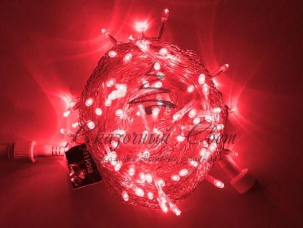 Светодиодная гирлянда Rich LED Нить 10 м, 220В, постоянного свечения, соединяемая, прозрачный провод, Красная