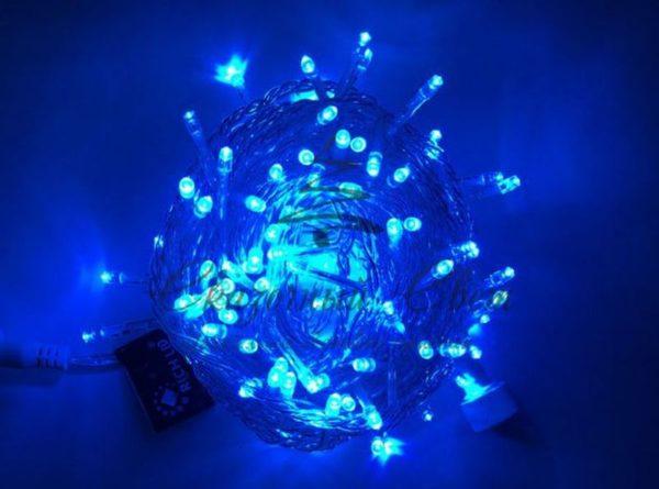 Светодиодная гирлянда Rich LED Нить 10 м, 220В, постоянного свечения, соединяемая, прозрачный провод, Синяя