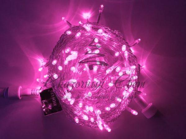 Светодиодная гирлянда Rich LED Нить 10 м, 220В, постоянного свечения, соединяемая, прозрачный провод, Розовая