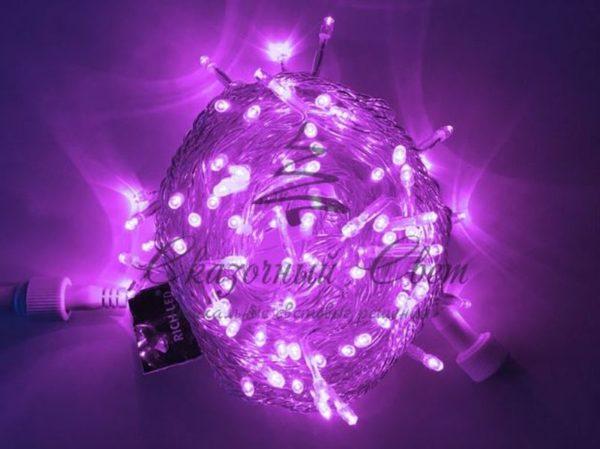 Светодиодная гирлянда Rich LED Нить 10 м, 220В, постоянного свечения, соединяемая, прозрачный провод, Фиолетовая