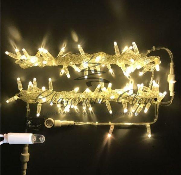 Светодиодная гирлянда Rich LED Нить 10 м, 220В, постоянного свечения, герметичный колпачок, IP65, соединяемая, прозрачный провод, Тепло-белая