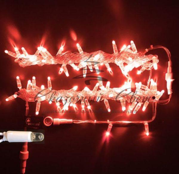 Светодиодная гирлянда Rich LED Нить 10 м, 220В, герметичный колпачок, IP65, соединяемая, постоянного свечения, белый провод, Красная