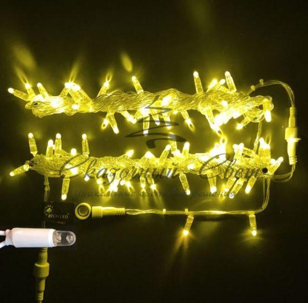 Светодиодная гирлянда Rich LED Нить 10 м, 220В, герметичный колпачок, IP65, соединяемая, постоянного свечения, белый провод, Желтая
