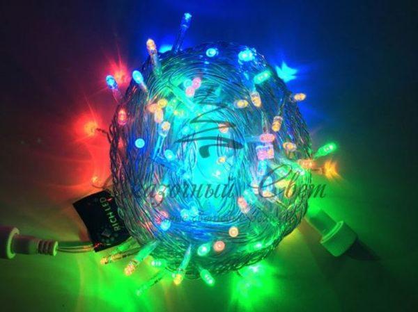 Светодиодная гирлянда Rich LED Нить 10 м, 220В, герметичный колпачок, IP65, соединяемая, постоянного свечения, белый провод, Мульти