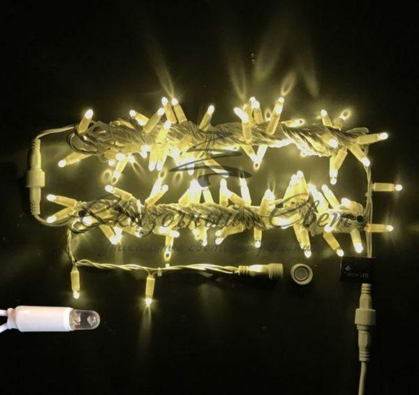 Светодиодная гирлянда Rich LED Нить 10 м, 220В, герметичный колпачок, IP65, соединяемая, постоянного свечения, белый провод, Тепло-белая