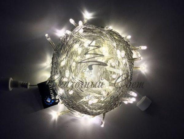 Светодиодная гирлянда Rich LED Нить 10 м, 220В, мерцающая, на прозрачном проводе, соединяемая, Тепло-белая