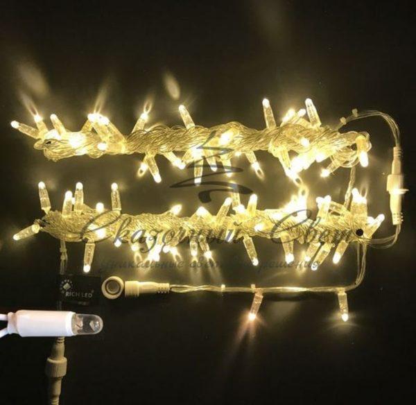 Светодиодная гирлянда Rich LED Нить 10 м, 220В, мерцающая, герметичный колпачок, IP65, соединяемая, прозрачный провод, Тепло-Белая