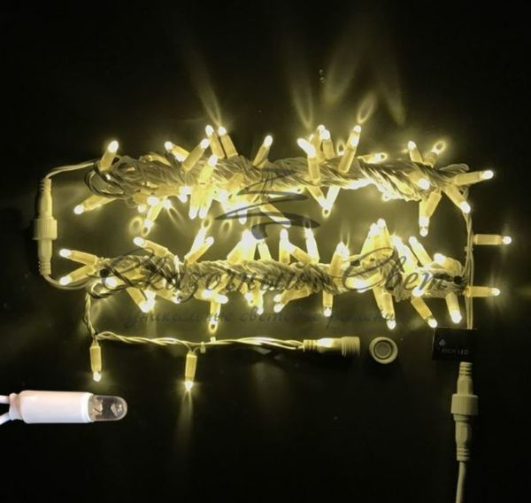 Светодиодная гирлянда Rich LED Нить 10 м, 220В, мерцающая, герметичный колпачок, IP65, соединяемая, белый провод, Тепло-белая