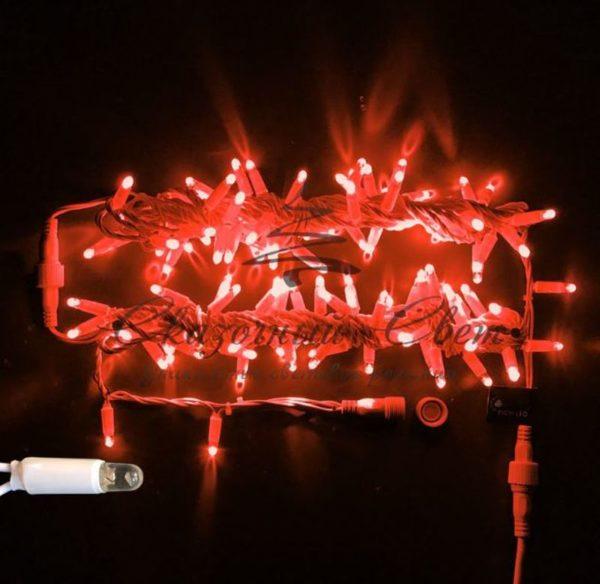 Светодиодная гирлянда Rich LED Нить 10 м, 220В, мерцающая, герметичный колпачок, IP65, соединяемая, белый провод, Красная