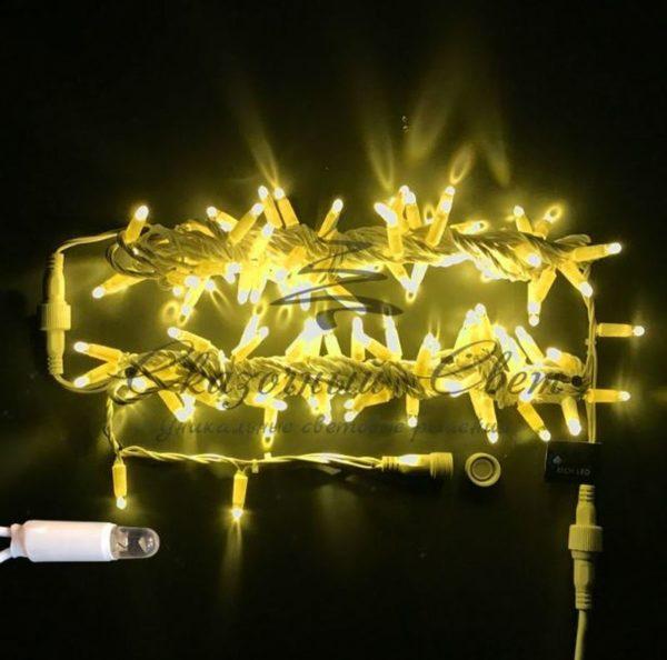 Светодиодная гирлянда Rich LED Нить 10 м, 220В, мерцающая, герметичный колпачок, IP65, соединяемая, белый провод, Желтая