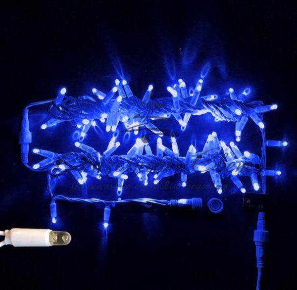 Светодиодная гирлянда Rich LED Нить 10 м, 220В, мерцающая, герметичный колпачок, IP65, соединяемая, белый провод, Синяя