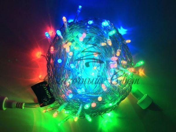 Светодиодная гирлянда Rich LED Нить 10 м, 220В, мерцающая, герметичный колпачок, IP65, соединяемая, белый провод, Мульти