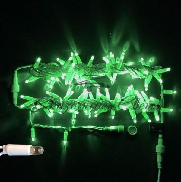 Светодиодная гирлянда Rich LED Нить 10 м, 220В, мерцающая, герметичный колпачок, IP65, соединяемая, белый провод, Зеленая