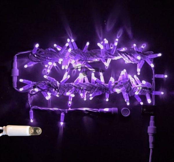 Светодиодная гирлянда Rich LED Нить 10 м, 220В, мерцающая, герметичный колпачок, IP65, соединяемая, белый провод, Фиолетовая
