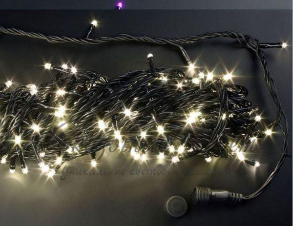 Светодиодная гирлянда Rich LED Нить 20 м, 220В, подключается контроллер, соединяемая, черный провод, Теплая белая