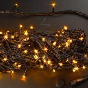 Светодиодная гирлянда Rich LED Нить 20 м, 220В, подключается контроллер, соединяемая, черный провод, Желтая