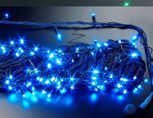 Светодиодная гирлянда Rich LED Нить 20 м, 220В, подключается контроллер, соединяемая, черный провод, Синяя