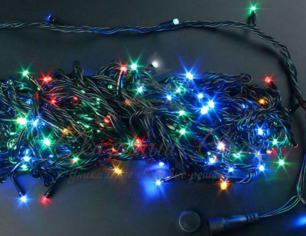 Светодиодная гирлянда Rich LED Нить 20 м, 220В, подключается контроллер, соединяемая, черный провод, Мульти