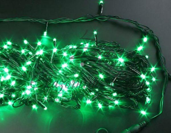 Светодиодная гирлянда Rich LED Нить 20 м, 220В, подключается контроллер, соединяемая, черный провод, Зеленая